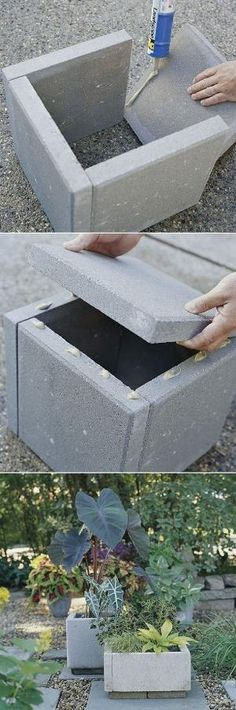 DIY concrete planter box All you need are a few - pavers, landscape-block adhesive, and a little time. Wait 24 hours for everything to cure and you're ready to move your new planters into place and fill them with dirt and greenery. by bernice