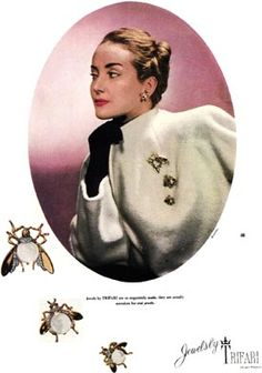 1943 Trifari Jewellery Advertising, Jewelry Ads, Vintage Costume Jewelry, Vintage Costumes, Vintage Outfits, Antique Jewelry, Vintage Jewellery, Vintage Accessories, Vintage Brooches