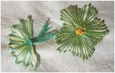 I ❤ embroidery . . . Week 37, Pistil Fan and flower- The fan is made with 4mm silk ribbon, surrounded by a Fly stitched fine green thread. The flower uses the same green thread.
