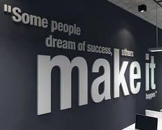 think big office wall art decor pvc typography inspirational motivational work sucess decals stickers skuthbi Office Wall Decor, Office Walls, Office Art, Wall Art Decor, Office Logo, Office Branding, Grey Interior Doors, Office Interior Design, Office Interiors