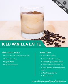 Healthier Iced Vanilla Latte Fitness, Fitness Motivation, Fitness Quotes, Fitness Inspiration, and Fitness Models! Yummy Drinks, Healthy Drinks, Healthy Snacks, Healthy Eating, Healthy Recipes, Healthy Iced Coffee, Fun Recipes, Healthy Nutrition, Smoothies