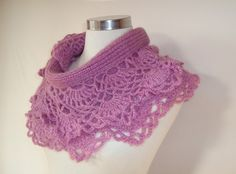 Items similar to SPECIAL SALE - Amethyst Spring Garden Mohair Shawl and Scarf with Crochet Lace - Express Delivery on Etsy Crochet Ruffle Scarf, Crochet Collar, Crochet Scarves, Crochet Shawl, Crochet Lace, Crochet Wraps, Crochet Edgings, Yarn Thread, Crochet Stitches Patterns