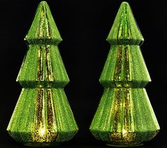 Add an extra dash of sparkle to your holiday decor with these illuminated mercury glass trees by Valerie Parr Hill. QVC.com
