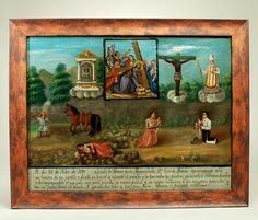 This extremely rare late 19th century ex-voto on canvas was last sold at Sotheby's New York on May 2 of 1990. Original 19th century ex-voto paintings, of this caliber, quality and scale are nearly impossible to come by. This example, painted and dedicated in July of 1895, is dedicated to the four 'imagenes' represented in the upper quadrant.  According to the legend along the lower edge, the petitioner, Da. Eusevia, leaving the village of Atlixco for Huaquechula (East Puebla), was thrown from he