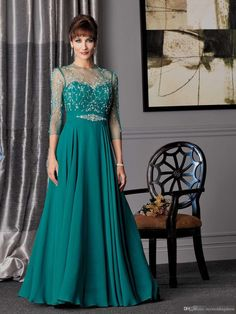 2015 Plus Size Cheap Mother of the Bride Dresses Groom Suits Hunter Green Chiffon Sheer Evening Gowns Designer Wedding Party Dress Crystals
