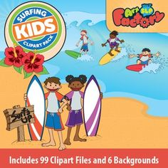 Hang ten with the Surfing Kids! This Clipart Package includes 99 individual clipart files and 6 backgrounds. Clipart package includes:- Surfing Kid graphics - Four different graphics - 7 Categories in color and 2 in black and white outlines- Hibiscus - 3 graphics in color - 1 black and white outlined- Palm Tree - 1 graphic in color - 1 black and white outlined- Surf Wax - 4 graphics in color - 1 black and white outlined- Surf Board - 6 graphics in color - 3 black and white outlined- Surfing…