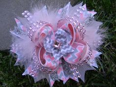 Pink Princess Pink and Gray Chevron Boutique Hair Bow