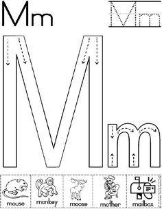Alphabet Letter M Worksheet  | Standard Block Font | Preschool Printable Activity