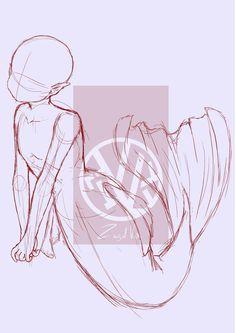 Art Drawings Sketches Simple, Pencil Art Drawings, Easy Drawings, Art Inspiration Drawing, Drawing Ideas, Body Drawing Tutorial, Mermaid Drawings, Drawing Base, Wings Drawing