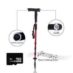 New Technology Multi functional Trekking pole Music Card/Speakers/Radio/Light/Compass/SOS(For Seniors) Walking Cane For Hiking Anti Shock Alpenstock -- Hurry! Check out this great item : Hiking gear Best Hiking Poles, Camping And Hiking, Hiking Gear, Walking Canes, Hiking Equipment, New Technology, Trekking, Compass, Speakers
