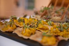 These Chicken Korma Wonton Cups with Cecilia's Farm Mango Strips were a winner amongst our guests. #onceuponafarm
