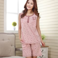 여성 여름 잠옷 조끼 반바지 민소매 꽃 잠옷 여성 라운지 어머니 파자마 세트 플러스 사이즈 4XL-에서Pajamas For Women Clothing Sleepwear Summer Short sleeve + Trousers Pyjamas Mujer Women's Sleep Lounge Pajama Sets 4XLUS부터 파자마 세트 의 Aliexpress.com | Alibaba 그룹