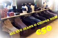 The January Sales continue to get bigger at Ej Menswear, with all Eto Jeans & Chino's reduced to just €50. In-store and online