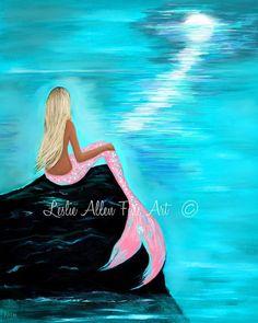 Sirena arte sirenas arte impresión Giclee sirena pared Art