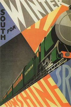 SOUTH for winter SUNSHINE vintage train poster EDMOND vaughan UK 1929 24X36