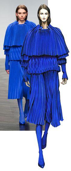 La modelo y su figurín de moda en esta interpretación del dibujo de pliegues y plisados por la Fashion Finishing School #figurinesdemoda www.figurinesdemoda.com