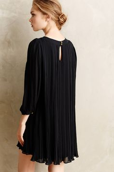 Anthropologie | Pleated Millie Swing Dress in black crepe