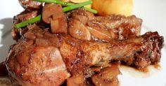 Una estupenda y fácil receta de pollo al vino tinto, con champiñones, Muy jugoso y con una salsa riquísima. Chefs, Cooking Time, Chicken Wings, Yummy Food, Delicious Recipes, Food And Drink, Pork, Meat, Blog