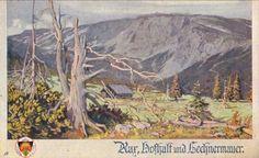 Gustav Jahn: Rax Die alte Hofhalthütte mit der Lechnermauer, Austria, 1910. Postcard, German School Card No. 520, Kunstdruckerei by Josef Eberle, Vienna.