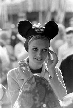 Twiggy tours Disneyland during her first visit to the U.S. in 1967.