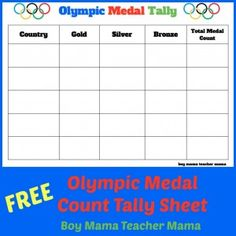 FREE Olympic Medals Tally Sheet