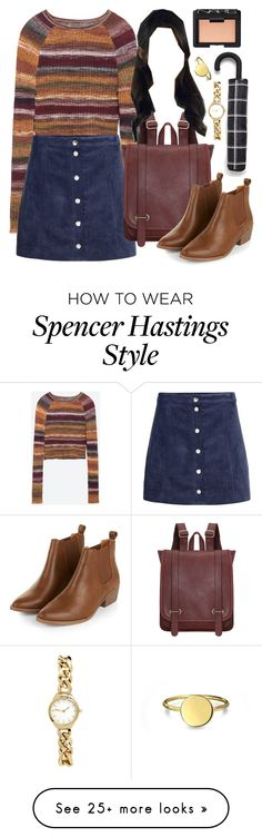 """Spencer Hastings inspired outfit with requested skirt"" by liarsstyle on Polyvore featuring Zara, H&M, NARS Cosmetics, Bling Jewelry, school, college and mid"