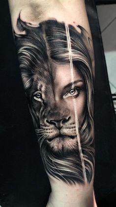 ▷ ideas for a lion tattoo to help awaken your inner st. - ▷ ideas for a lion tattoo to help awaken your inner strength back of arm tattoo, half lion - Female Lion Tattoo, Lion Tattoo On Thigh, Lion Tattoo Sleeves, Lion Head Tattoos, Leo Tattoos, Couple Tattoos, Body Art Tattoos, Female Arm Tattoos, Female Tattoo Sleeve