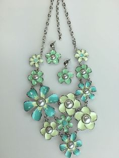 Flower Mint Aqua Pearl Bead Silver Tone Women Statement Bib Necklace Earring  #DazzledByJewels #Flower #Necklace #Earring #Gift