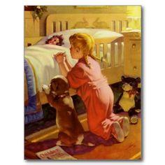 Vintage Girl Praying with Dog