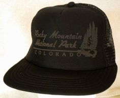 Vintage Mesh Trucker Hat ROCKY MOUNTAIN NATIONAL PARK Colorado Snapback Camp Cap…