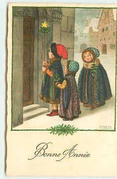 Pauli Ebner - Bonne Année - Fillettes allant frapper à une porte