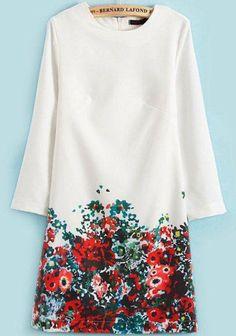 Round Neck Floral Print Dress