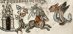 Dragon slaying, medieval style.  15th century