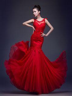 Fiesta formal Vestido - Rojo Corte Sirena Hasta el Suelo - Escote A la Base Gasa/Encaje - EUR €71.24