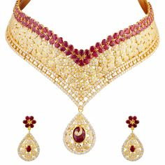 The Traditional Bridal Wear Diamond Choker Set Studded With Round Diamonds And Excellent Combination Of Rubies.