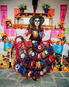 Catrina with Mexican dress..somedays this is what I feel I look like...lol..
