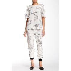 tibi Stencil Pajama Silk Jogger Pant ($130) ❤ liked on Polyvore featuring intimates, sleepwear, pajamas, white multi, silk pyjamas, silk sleepwear, white silk pajamas, tibi and silk pjs