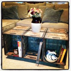 I would use 4 crates too, but finish nicer.maybe paint, and a cushion on part of top?---Love this as a coffee table! great storage and would downsize it to 4 crates -SD Crate Furniture, Repurposed Furniture, Furniture Projects, Home Projects, Office Furniture, Cool Coffee Tables, Decorating Coffee Tables, Coffe Table, Diy Casa