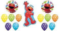 ELMO Sesame Street Polka Dots 13 Happy Birthday Party Mylar & Latex Balloons Set