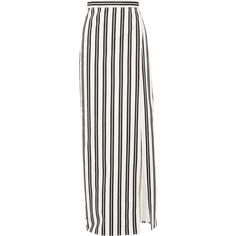 Balenciaga Striped cotton-twill wrap skirt ($825) ❤ liked on Polyvore featuring skirts, saias, white, denim skirt, long wrap skirt, denim maxi skirt, maxi skirt and long skirts