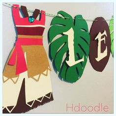 Moana Polynesian Banner Birthday Party Coconut Leaves by Hdoodle