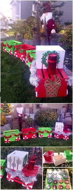 DIY Christmas Crate Train Craft for Outside. Those inexpensive wooden crates are perfect for creating fun and festive holiday projects. These adorable painted wooden crate trains are really the perfect addition to your front porch decorations. Christmas Train, Christmas Porch, Noel Christmas, Christmas Crafts, Christmas Ideas, Diy Christmas Yard Lights, Christmas Presents, Diy Christmas Home Decor, Christmas Island