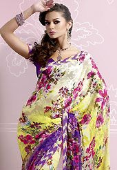 The most radiant carnival of style and beauty. This light cream, yellow and purple brasso faux georgette saree is nicely designed with floral print, lace and patch work. Saree gives you a singular and dissimilar look. Matching purple blouse is available. Slight color variations are possible due to differing screen and photograph resolution.