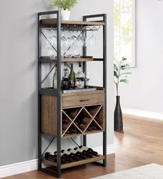 Urban Industrial Style Wood & Metal Wine Rack Cabinet Drinks Bar Storage Unit for sale Small Bar Cabinet, Home Bar Cabinet, Bar Cabinets For Home, Bar Storage Cabinet, Bar Shelves, Wine Rack Storage, Wine Rack Cabinet, Drinks Cabinet, Bar Furniture