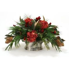 Distinctive Designs Harvest Centerpiece with Deer Horns and Feathers Silk Flower - 9903