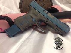 Glock 19 in Custom Dark Ice Blue and Tungsten Cerakote