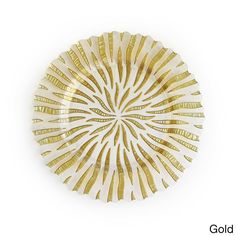 Dazzle friends and family with the glamorous Halley charger plate. Made of glass, this beautiful plate features either a gold or silver accents in an eye-catching sunburst pattern.