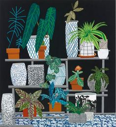 Jonas Wood is an artist who paints interiors, potted plants, fish tanks, and more in a flat, graphic style.