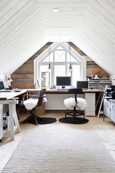 Desk in attic