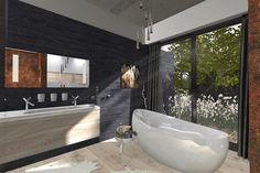 Moderná kúpelňa s kamenným obkladom | Living styles